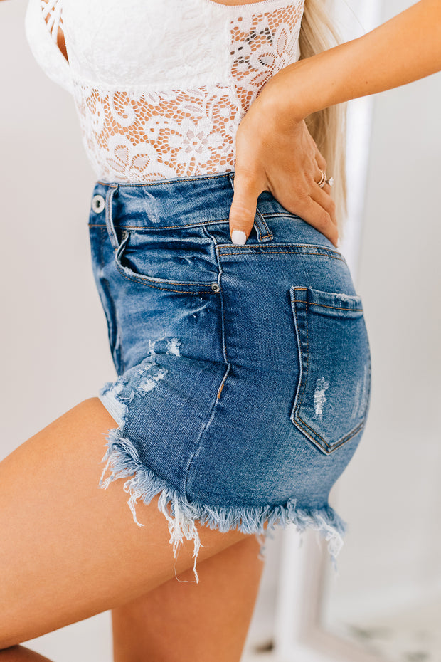 Here And Now Frayed Denim Shorts (Dark) - NanaMacs