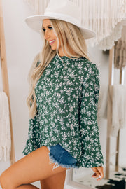 Tea Party Floral Ruffle Neck Top (Dark Green) - NanaMacs