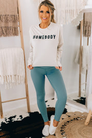 """Homebody"" Long Sleeve Graphic Top (Antique White) - NanaMacs"