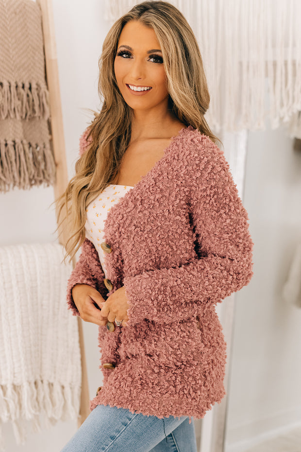 Don't Bother Me Popcorn Knit Cardigan (Ash Rose) - NanaMacs