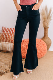 Getting Groovy High Rise Bell Bottom Pants (Black) - NanaMacs