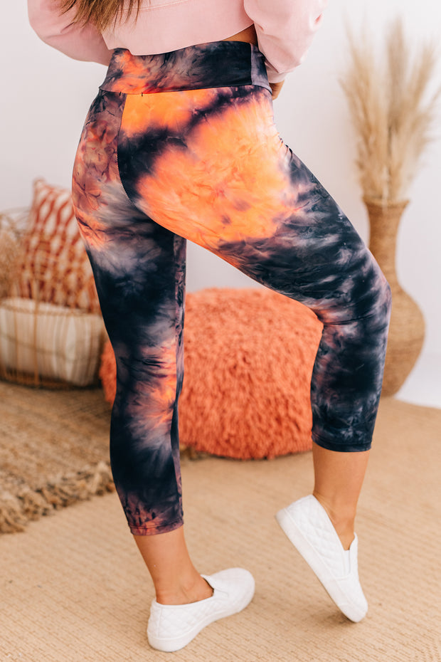 Loosen Up Tie Dye Capri Leggings (Black) - NanaMacs