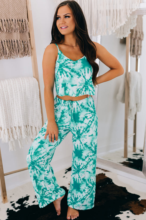 Tropical Bliss Tie Dye Pajama Set (Print Jade) - NanaMacs