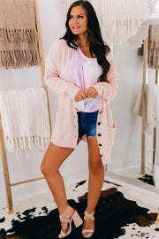 Sweet Addiction Button Down Cardigan (Blush) - NanaMacs