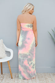 Setting Standards Strapless Dress (Blush/Lemon Multi)