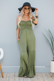 Think About It Jumpsuit (Moss Green)