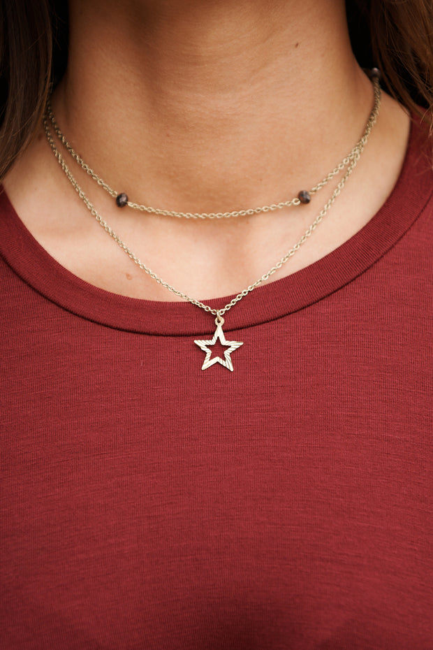 North Star Layered Necklace (Antique Gold) - NanaMacs