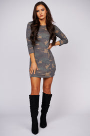 Reach For The Stars Camo Print Dress (Brown)
