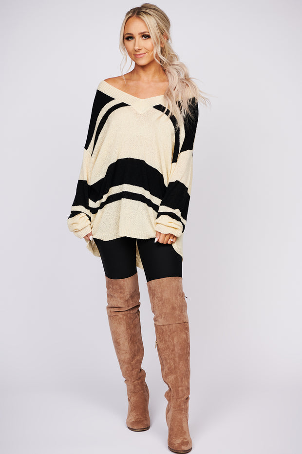 Move On Over Color Block V-Neck Sweater (Ivory) - NanaMacs