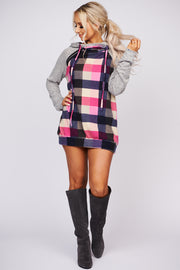 Stay In Tonight Plaid Pullover Hoodie (Pink) - NanaMacs