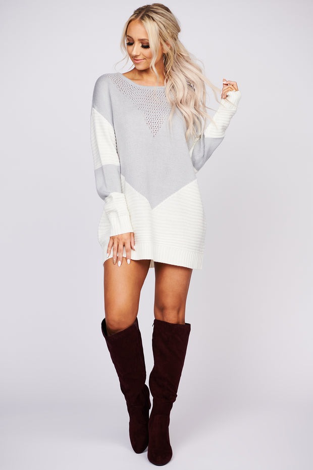 See You Smile Color Block Sweater (Grey)