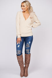 Mind Made Up Faux Wrap Knit Top (Cream)