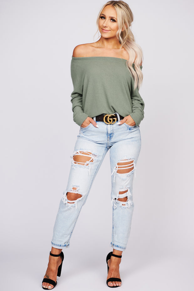 Can't Stop Loving You Long Sleeve Knit Top (Olive)