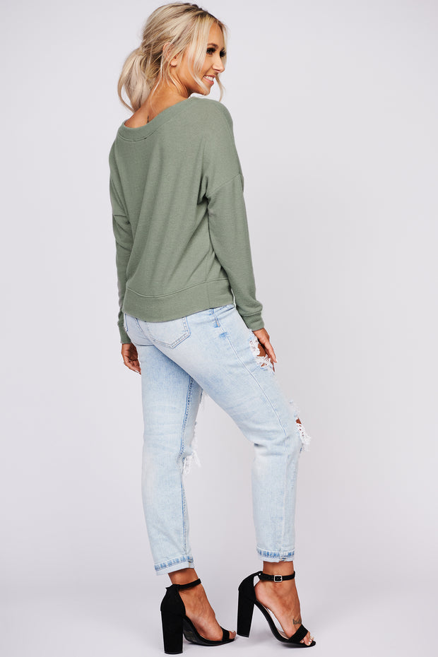 Can't Stop Loving You Long Sleeve Knit Top (Olive) - NanaMacs