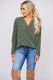 Breakfast In Bed Surplice Sweater (Olive) - NanaMacs