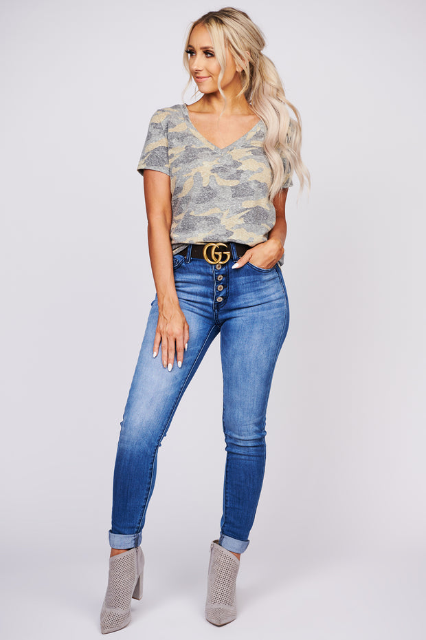 Starting Over Camouflage Print Short Sleeve Top (Camo) - NanaMacs