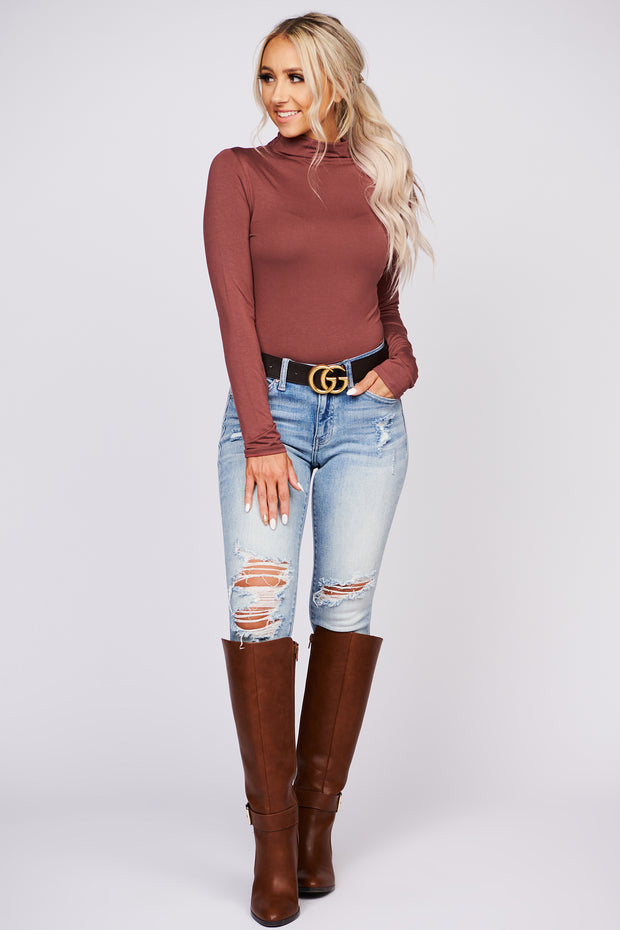 Come On Over Long Sleeve Crop Top (Mahogany)