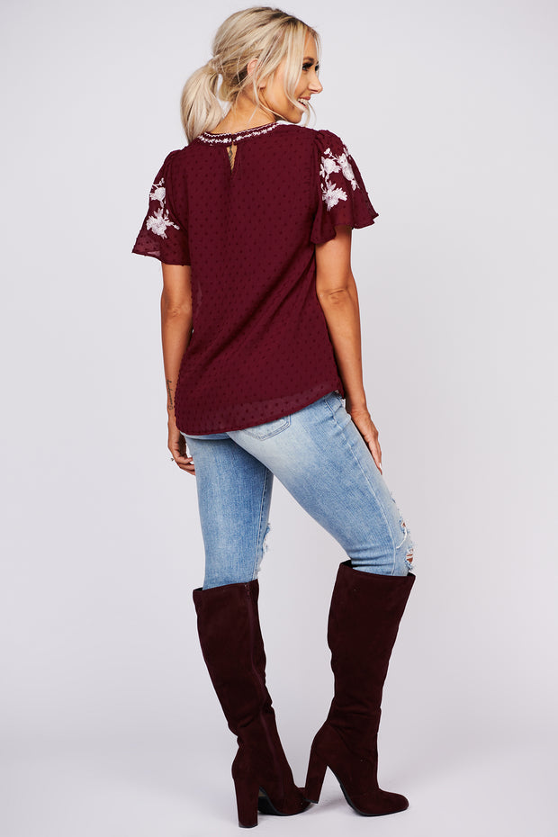 Happier Now Embroidered Swiss Dot Top (Burgundy) - NanaMacs