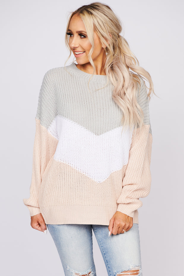 Say What You Mean Chevron Color Block Sweater (Baby Pink) - NanaMacs