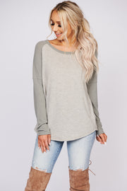 Always Stay Positive Long Sleeve Raglan Top (Olive/Sand) - NanaMacs