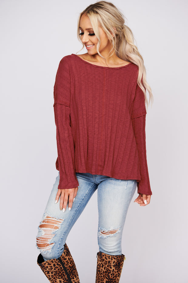 Star Sign Ribbed Knit Criss Cross Top (Dark Red)
