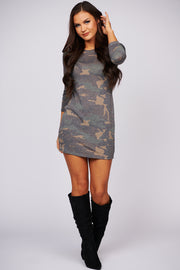 Reach For The Stars Camo Print Dress (Brown) - NanaMacs