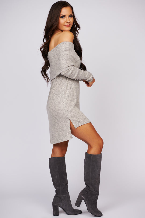 Must Be Magic Off The Shoulder Knit Dress (Taupe)