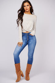 New Obsession Long Sleeve Knit Top (Stone)