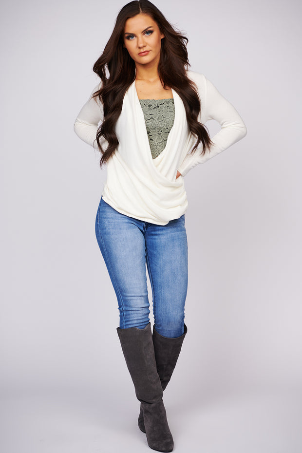 Look At You Now Knit Wrap Top (Ivory) - NanaMacs