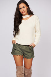 Pearl Talk Choker Neck Sweater (White) - NanaMacs