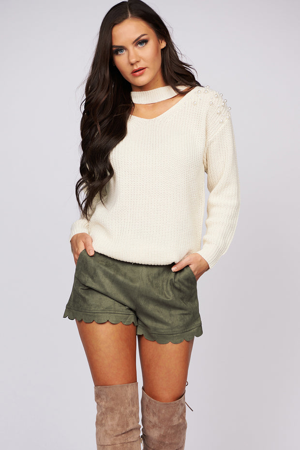 Pearl Talk Choker Neck Sweater (White)