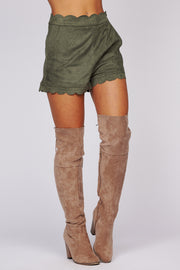 Be Your True Self Scalloped Shorts (Olive) - NanaMacs