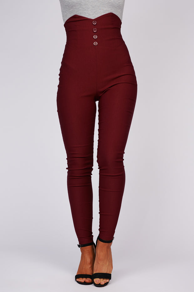 Girl Boss High Waisted Pants (Burgundy)
