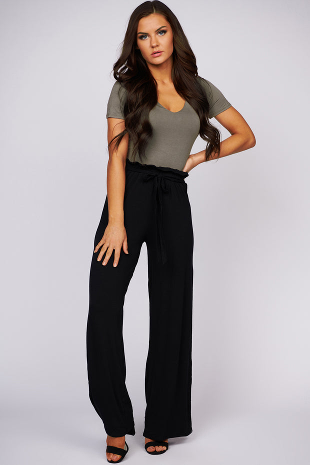 Comfy Time Knit Palazzo Pants (Black) - NanaMacs