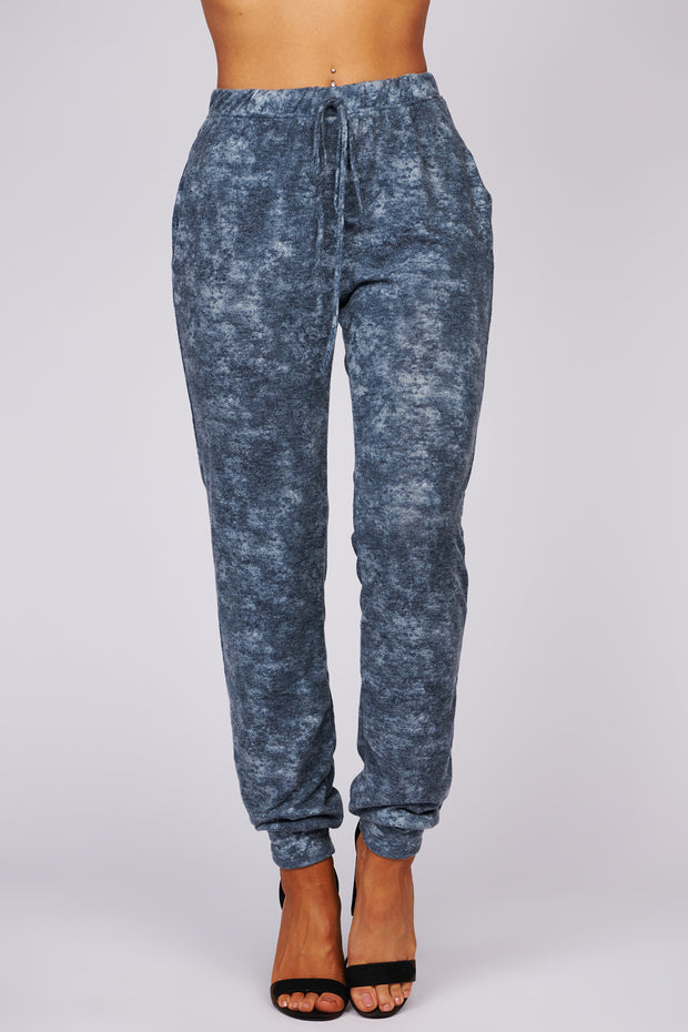 Snooze The Alarm Tie Dye Knit Joggers (Navy) - NanaMacs