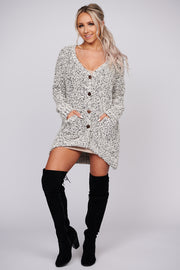 Song For You Popcorn Knit Cardigan (Black/Beige) - NanaMacs