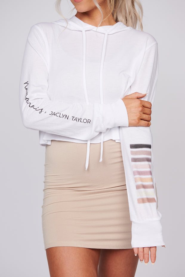 NanaMacs X Jaclyn Taylor Cosmetics Cropped Graphic Hoodie (White)