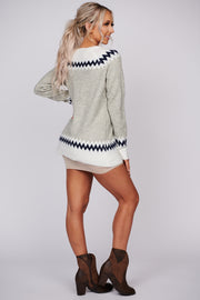 Finding Sunshine Chevron Sweater (Heather Grey)
