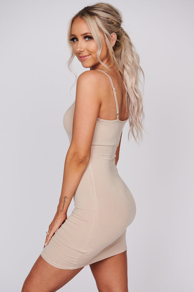 Not A Care In The World Cami Dress (Taupe)
