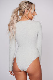 Caught Up In You Ribbed Knit Bodysuit (Light Heather Grey) - NanaMacs