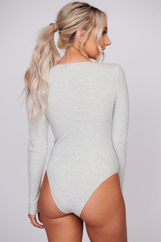 Caught Up In You Ribbed Knit Bodysuit (Light Heather Grey)