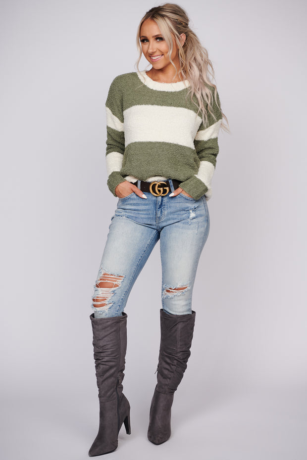 Admit The Truth Color Block Sweater (Olive) - NanaMacs