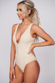 Quick View Ribbed Bodysuit (Cream) - NanaMacs