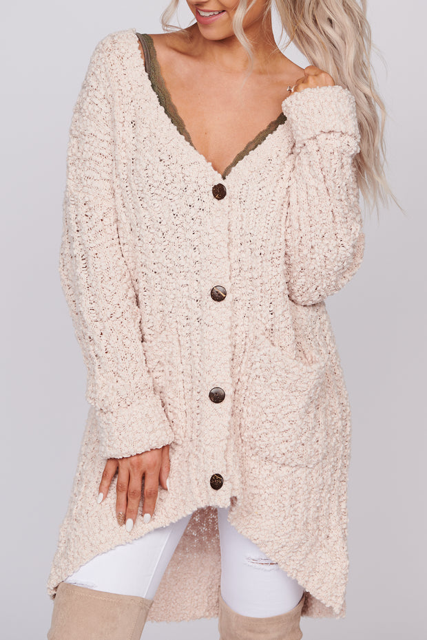 Song For You Popcorn Knit Cardigan (Blush)