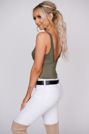 Hold You Close Lace Trim Tank Top (Olive) - NanaMacs