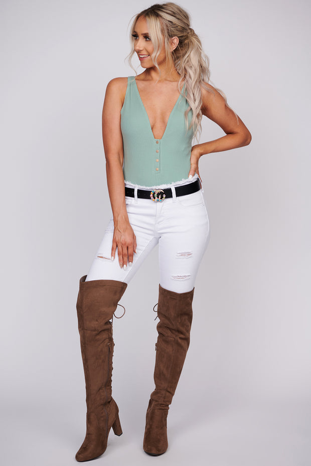Keep It Flowing Ribbed Bodysuit (Pistachio) - NanaMacs