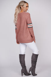 Keep The Party Striped Sweater (Mauve)