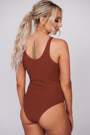 Take Notice Ribbed Bodysuit (Pecan) - NanaMacs