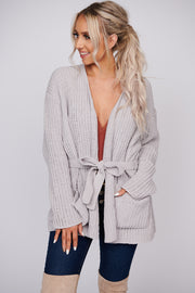 Only The Beginning Chenille Open Front Cardigan (Silver)