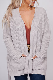 Only The Beginning Chenille Open Front Cardigan (Silver) - NanaMacs